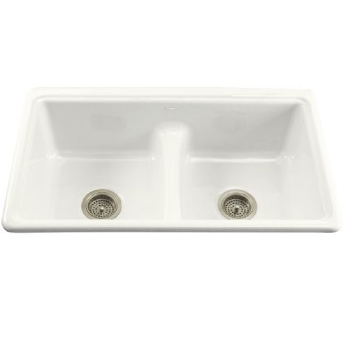 Kohler Deerfield Cast Iron Undermount Kitchen Sink with Smart Divide - 5838